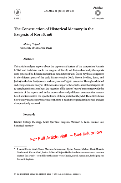 First Page Only Mairaj Syed - Final Article - Construction of Historical Memory in the Exegesis of Kor 16, 106 - Re-sized
